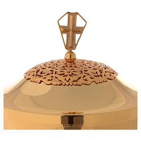 Calice pisside patena ottone dorato filigrana nodo traforato s2