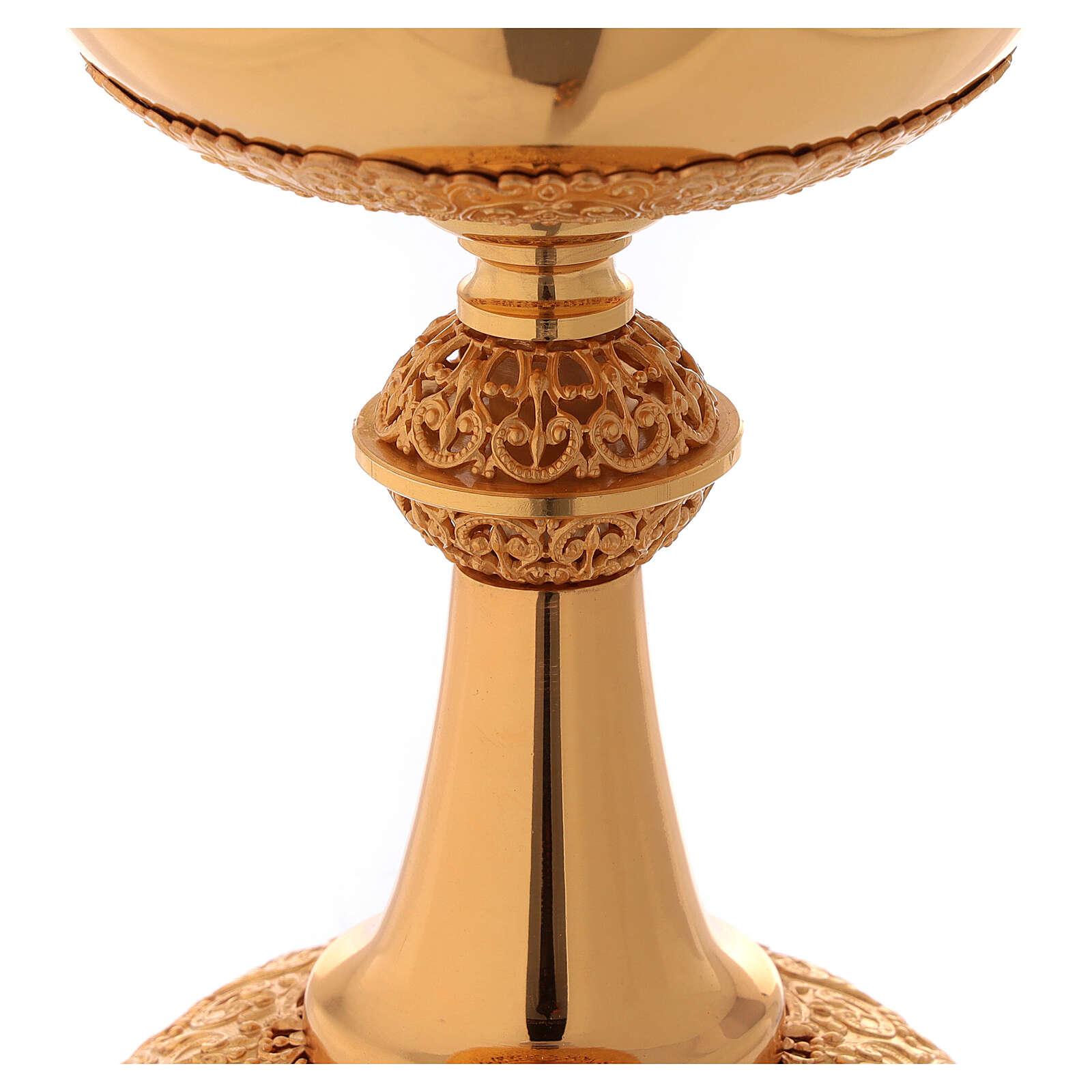 Chalice ciborium paten in golden brass filigree openwork knot 4