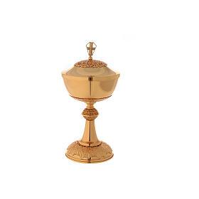 Chalice ciborium paten in golden brass filigree openwork knot s3