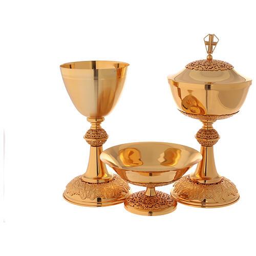Chalice ciborium paten in golden brass filigree openwork knot 1