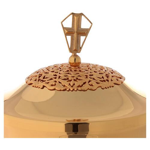 Chalice ciborium paten in golden brass filigree openwork knot 2