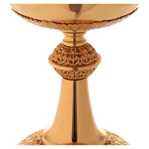 Chalice ciborium paten in golden brass filigree openwork knot 6