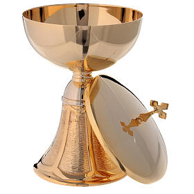 Bell-mouthed base ciborium in gold plated brass streamer pattern 8 in s2