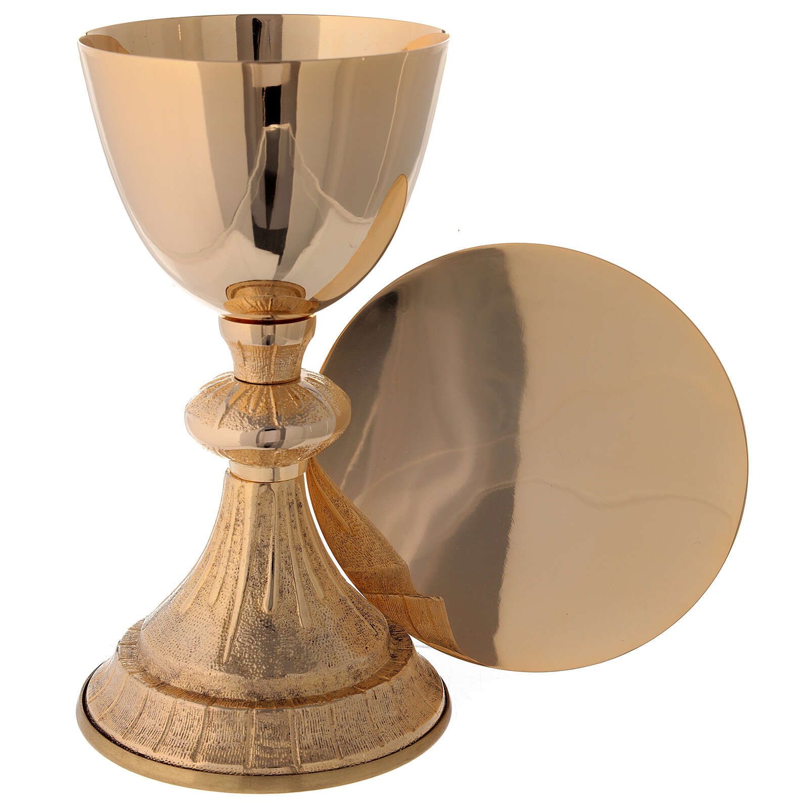 Knurled chalice and paten with lined pattern in gold plated brass 7 1/4 in 4