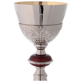 Gold plated brass chalice with paten with turned red node s3