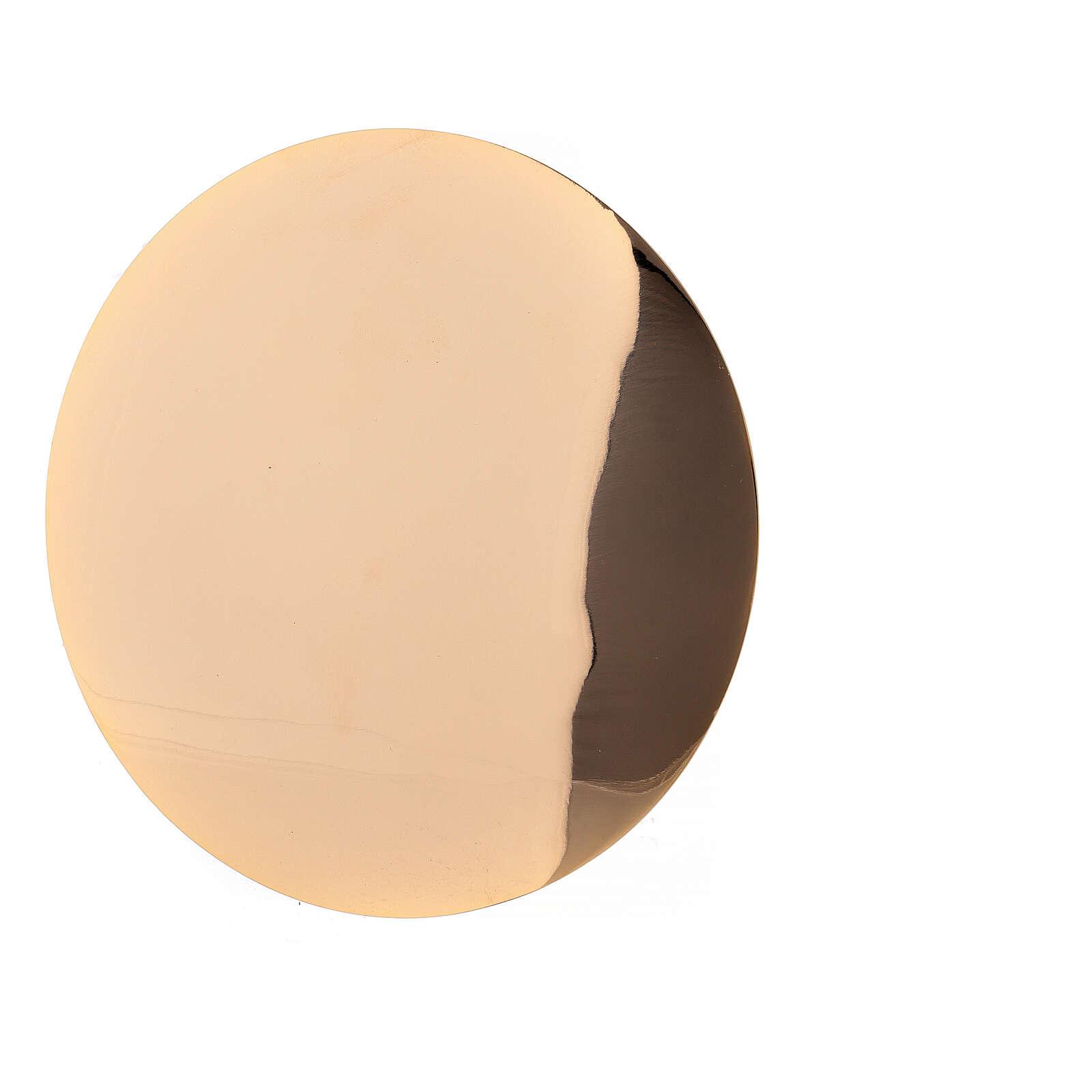 Patena latão dourado lisa diâmetro 12,5 cm 4