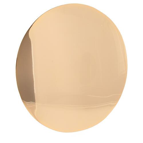 Patena semplice ottone vera doratura diametro 16 cm 2