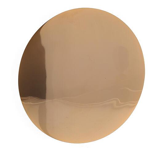 Patena latão dourado IHS gravado diâmetro 12,5 cm 2