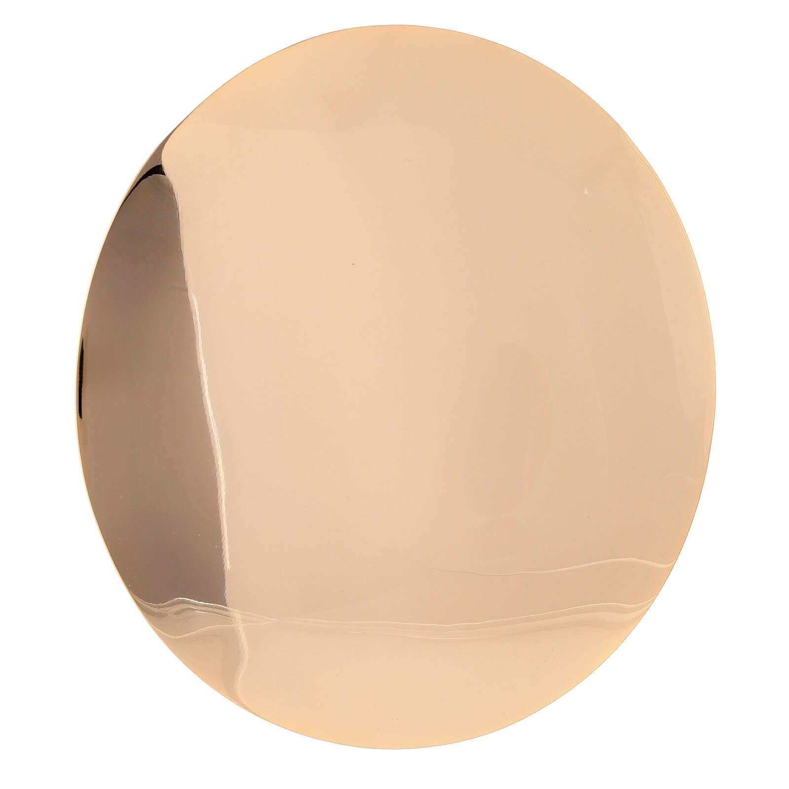 Patena diâmetro 16 cm decoração IHS latão dourado 4