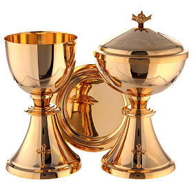 Chalice, ciborium and paten attached cross gold plated brass s1