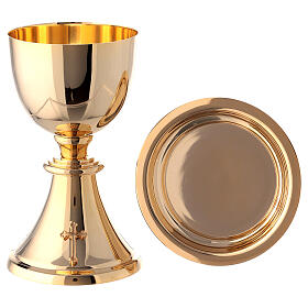 Chalice, ciborium and paten attached cross gold plated brass s13