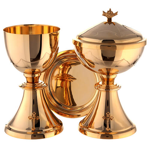 Chalice, ciborium and paten attached cross gold plated brass 1