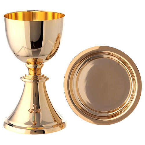 Chalice, ciborium and paten attached cross gold plated brass 13