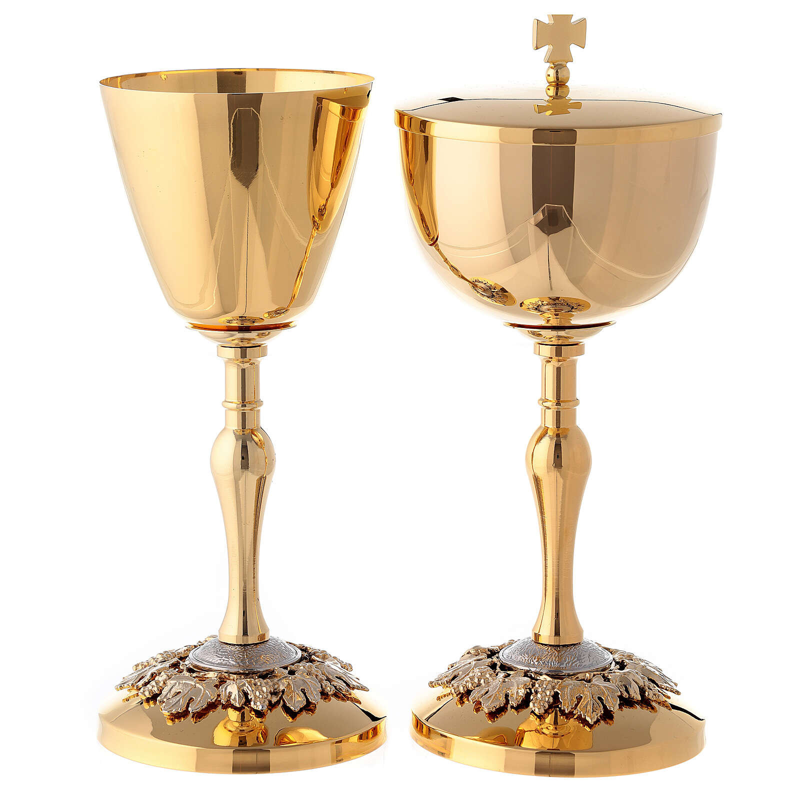Gold plated brass chalice and ciborium with embossed leaves and grapes 4