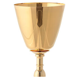 Gold plated brass chalice and ciborium with embossed leaves and grapes s6
