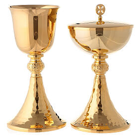 Gold plated hammered chalice and ciborium s1