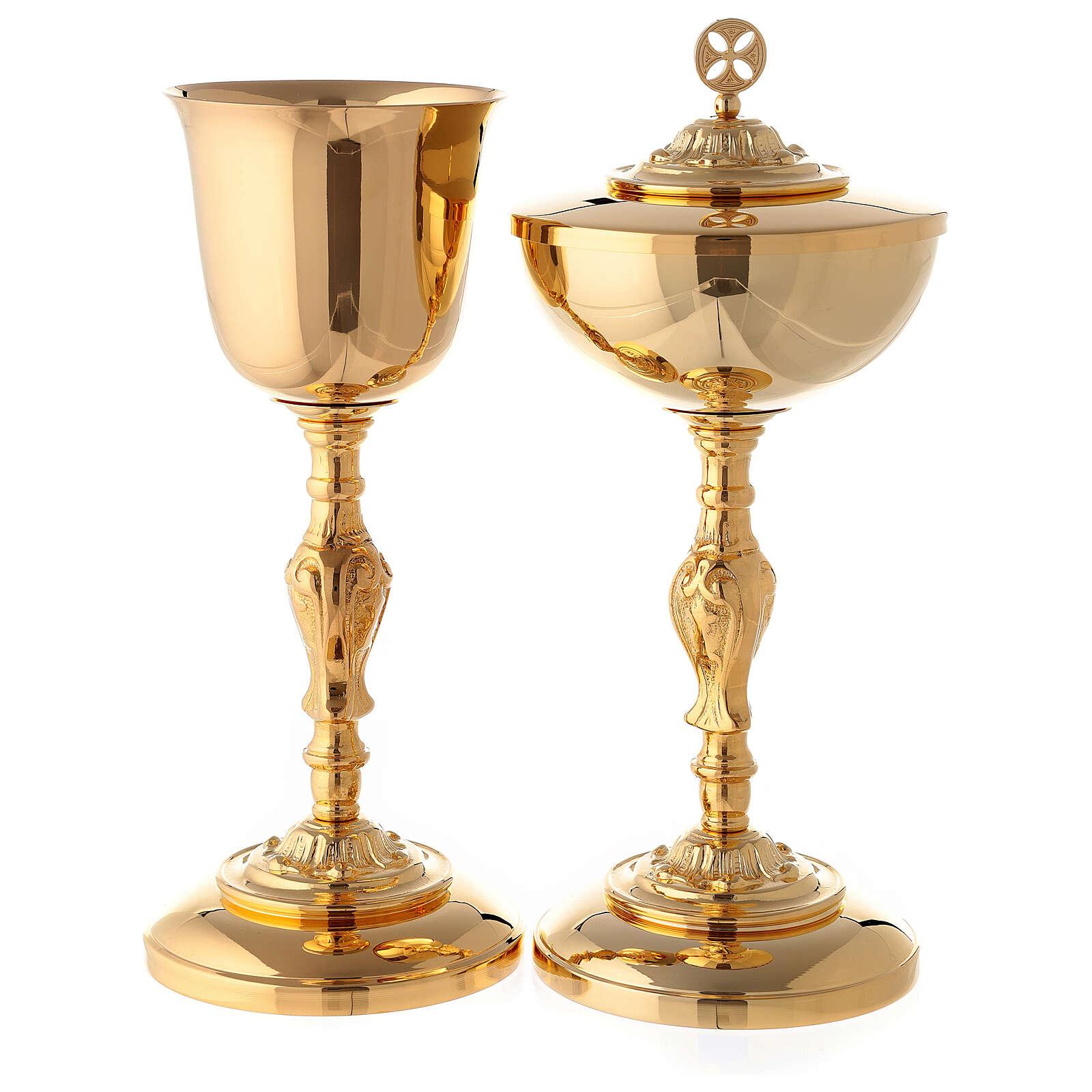 Baroque chalice and ciborium in 24-karat gold plated brass 4
