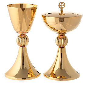 Chalice and ciborium with ribbed node in 24-karat gold plated brass s1