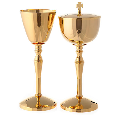 Gold plated brass chalice and ciborium with casted column-shaped node 1