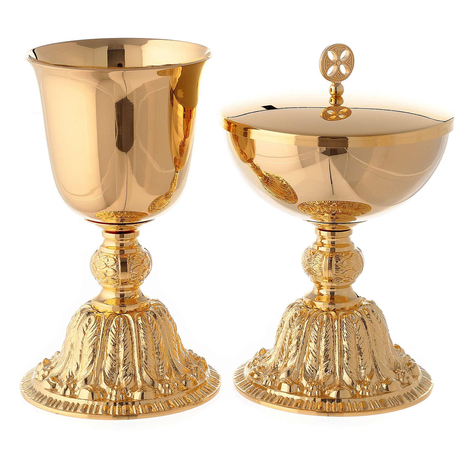 Calice e pisside con nodo e base in stile barocco ottone dorato 4