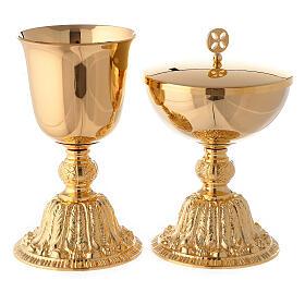 Calice e pisside con nodo e base in stile barocco ottone dorato s1