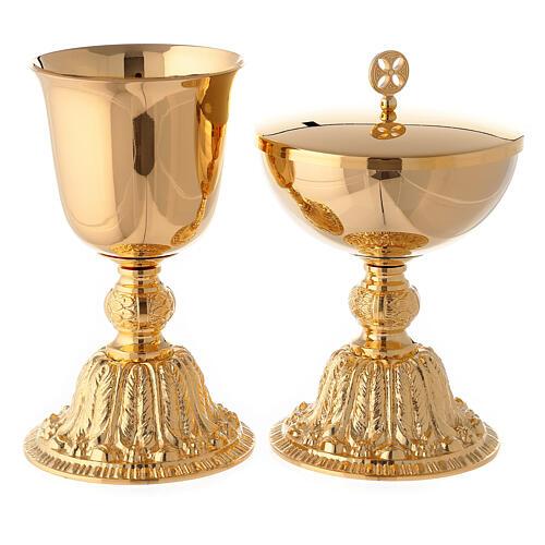 Calice e pisside con nodo e base in stile barocco ottone dorato 1