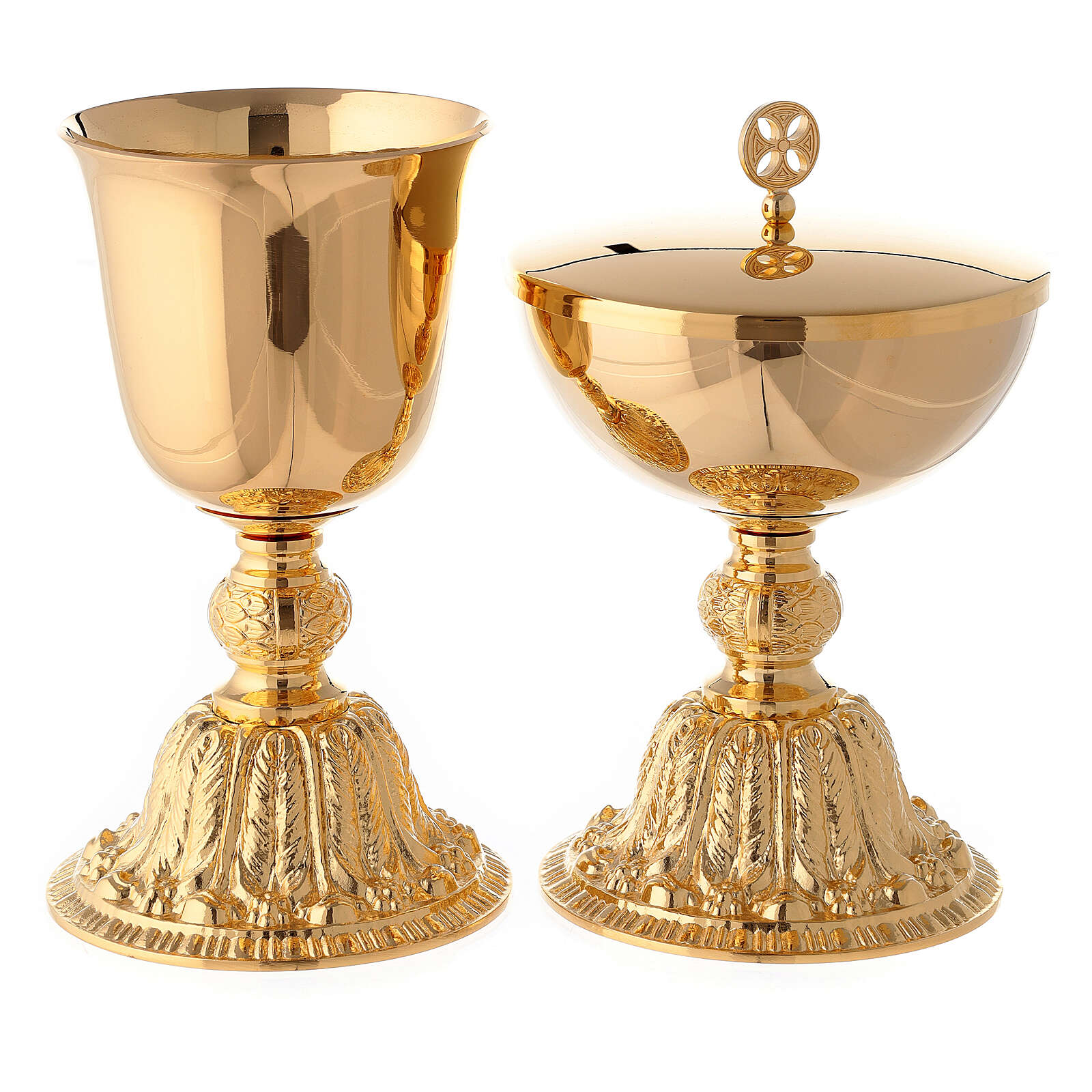 Gold plated brass chalice and ciborium with baroque node and base 4
