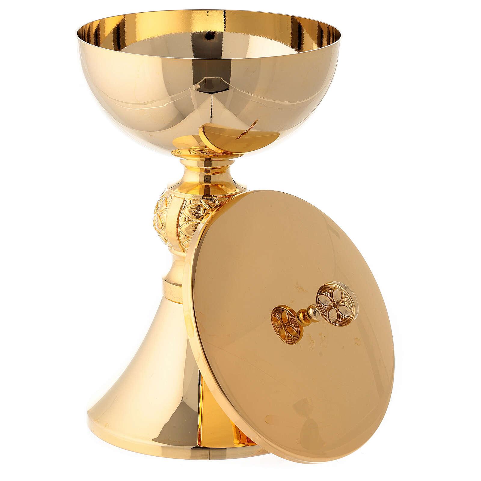 Cáliz y copón decoraciones con incisión latón dorado 4
