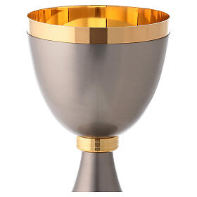 Chalice and pyx made of brass with 24-carat gold plating with striped knot s4