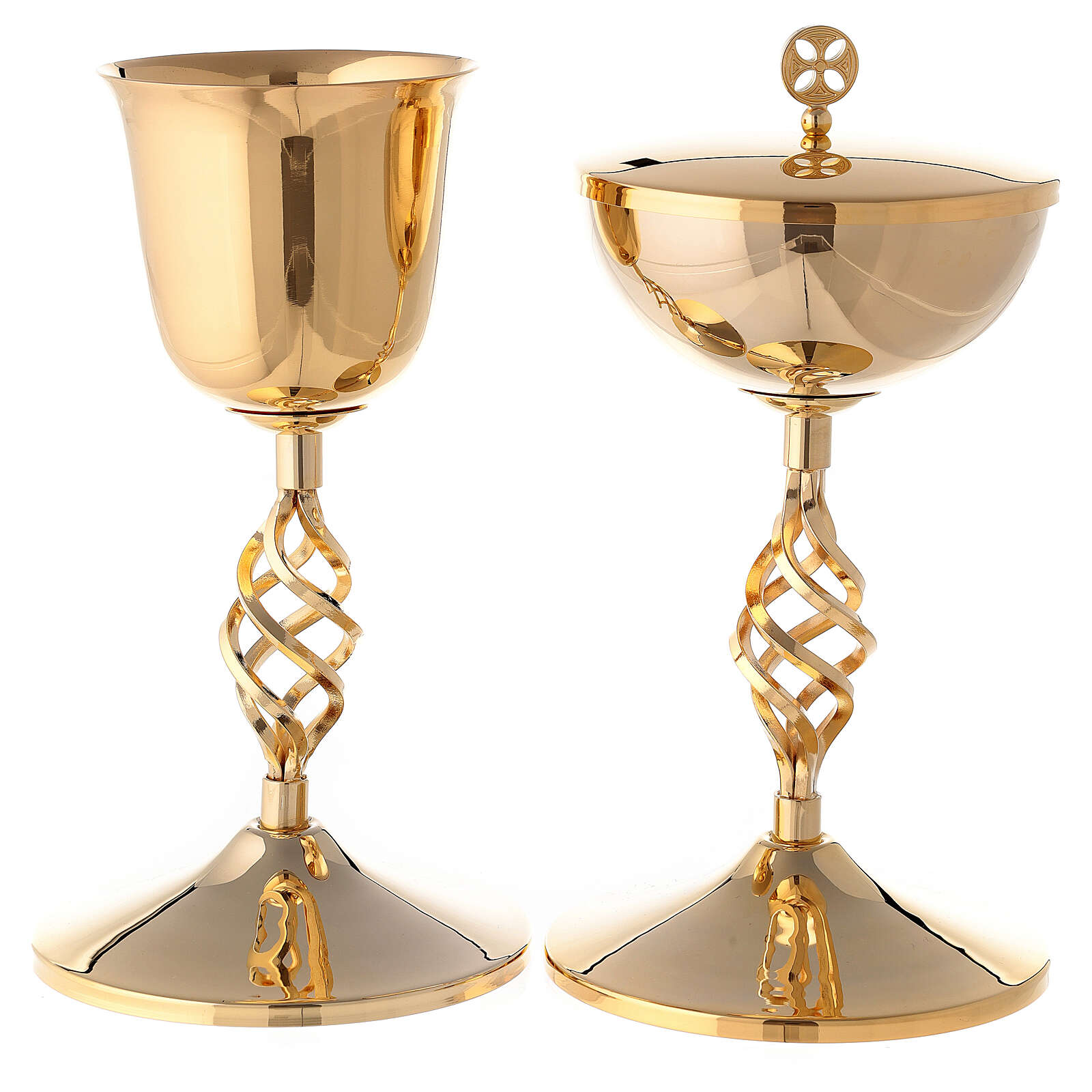 Gold plated brass chalice and ciborium with elliptical node 4