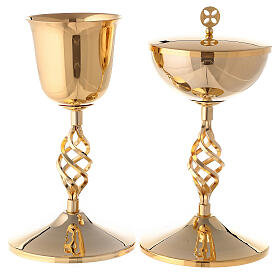 Gold plated brass chalice and ciborium with elliptical node s1