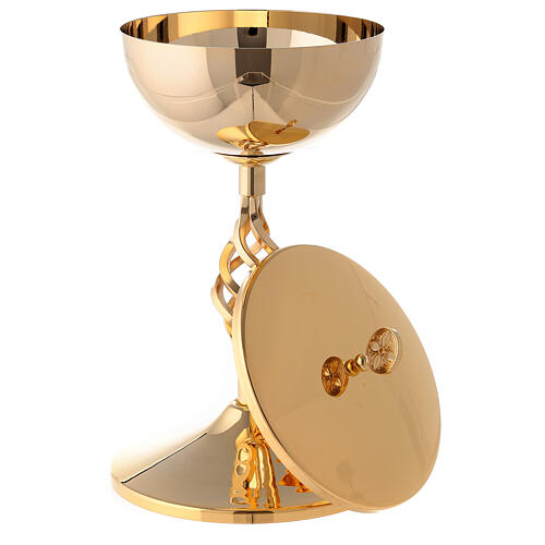 Gold plated brass chalice and ciborium with elliptical node 3
