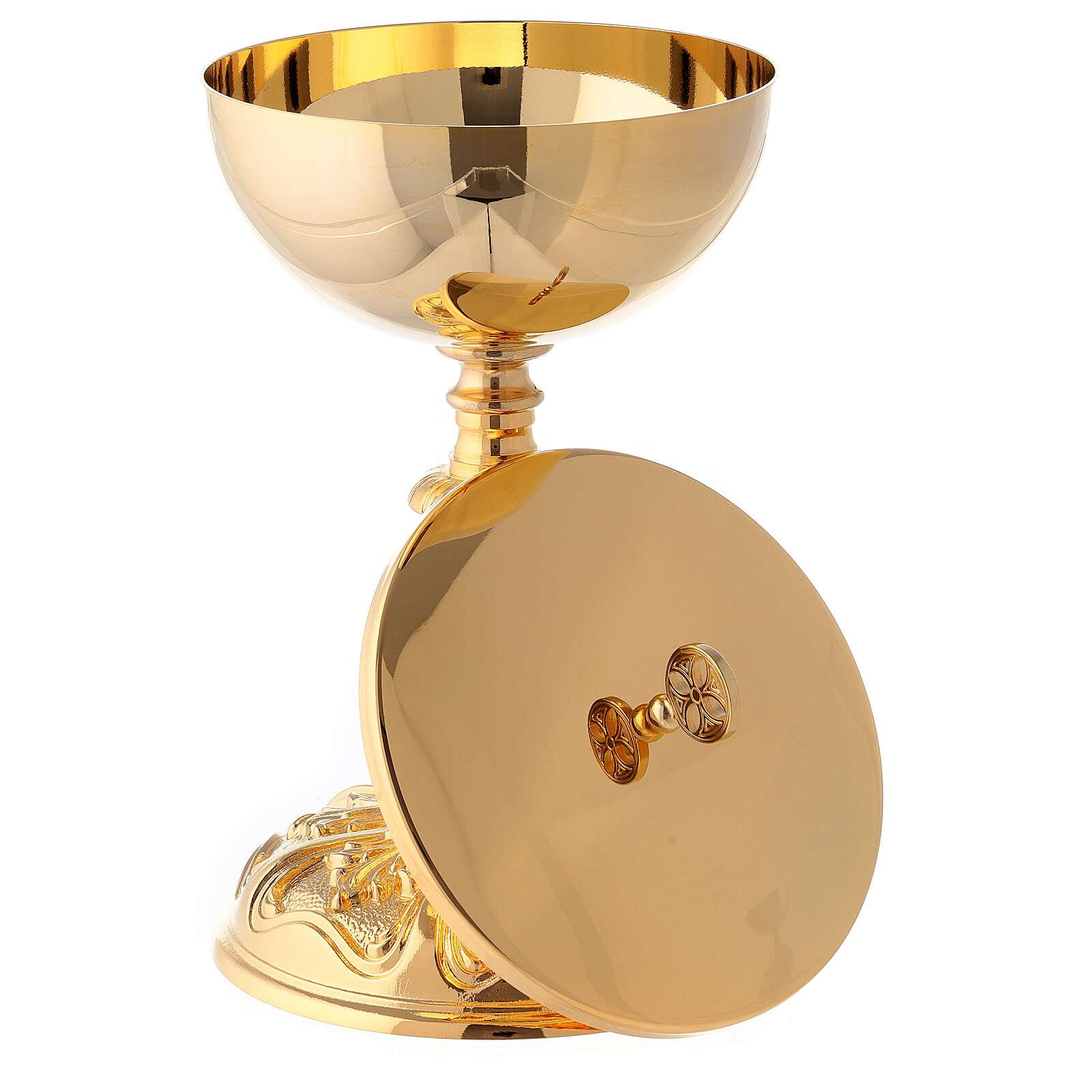 Rococo chalice and ciborium in 24-karat gold plated brass 4
