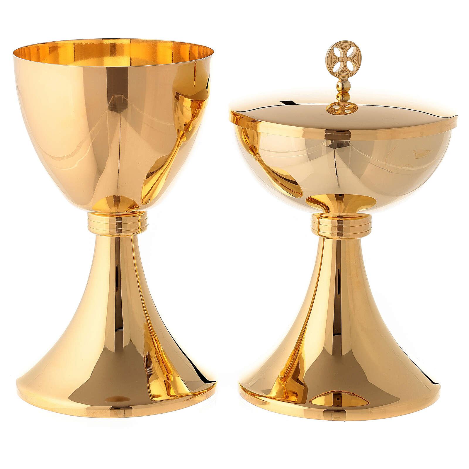 Calice e pisside con nodo incisione a righe ottone dorato 4