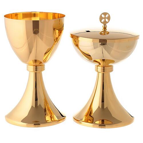 Calice e pisside con nodo incisione a righe ottone dorato 1