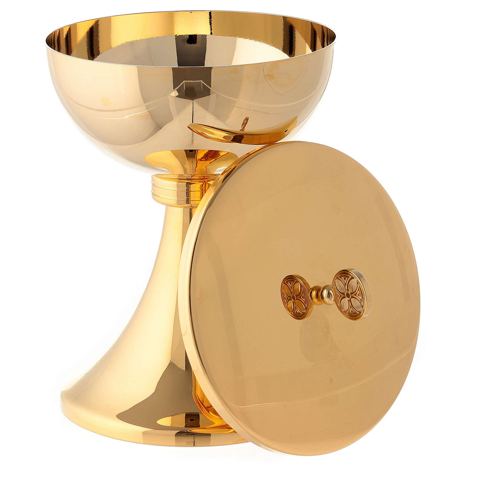 Gold plated chalice and ciborium with striped engraved node in brass 4