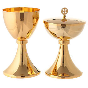 Gold plated chalice and ciborium with striped engraved node in brass s1