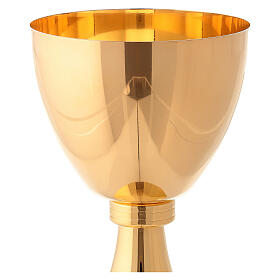 Gold plated chalice and ciborium with striped engraved node in brass s4