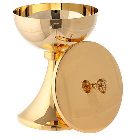 Gold plated chalice and ciborium with striped engraved node in brass s5