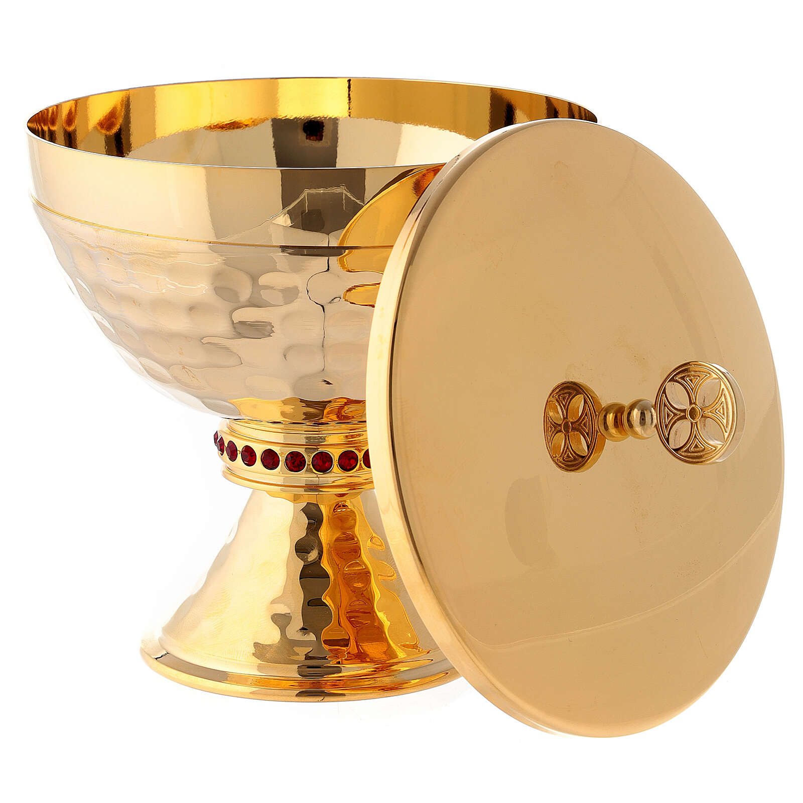 Small ciborium in hammered brass with red stones 4