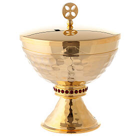 Small ciborium in hammered brass with red stones s1