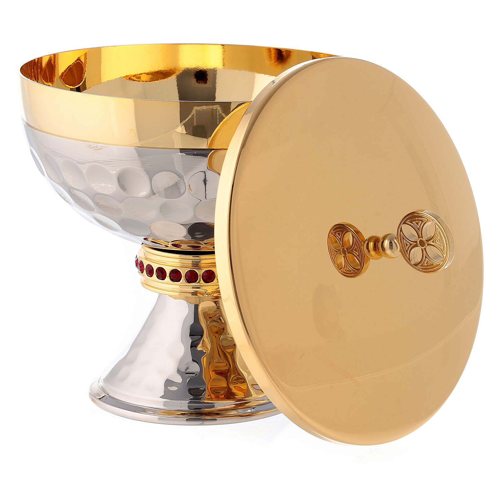 Small ciborium in hammered silver plated brass with red stones 4