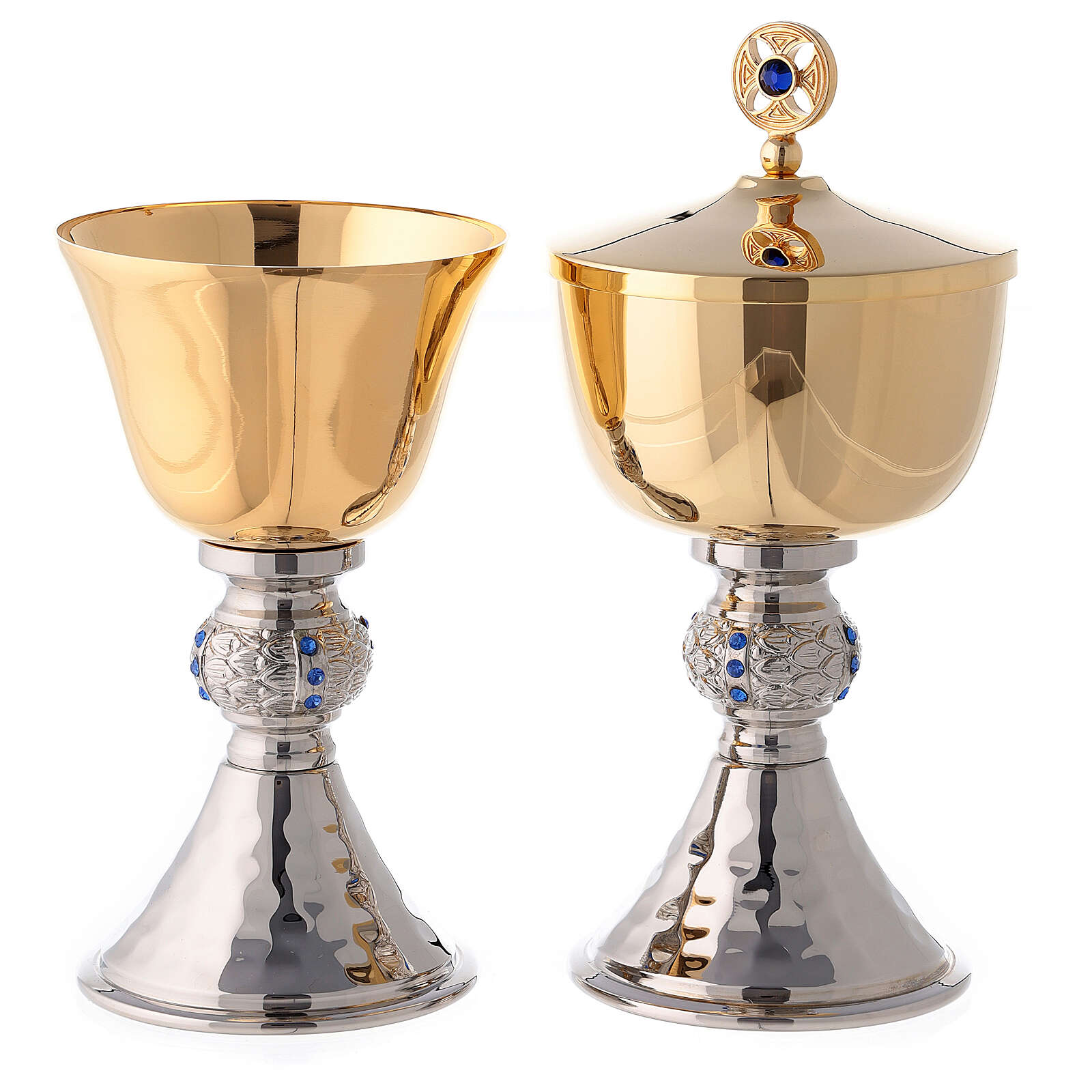 Chalice and ciborium with hammered silver plated base 4