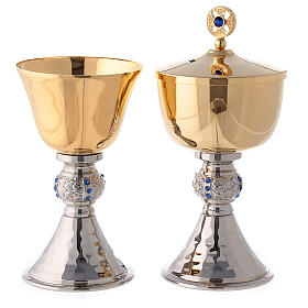 Chalice and ciborium with hammered silver plated base s1