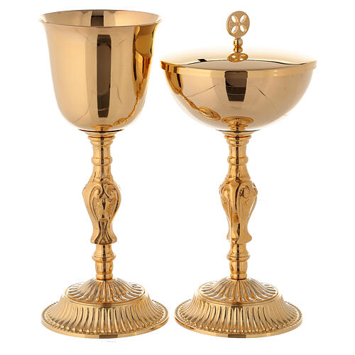 Gold plated chalice and ciborium with Baroque decorations 1