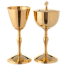 Chalice and ciborium in polished gold plated brass s1