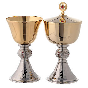 Chalice and ciborium with hammered base and node with red stones s1