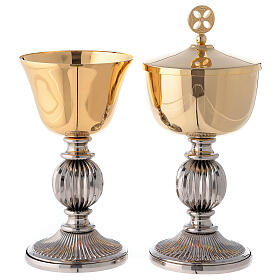 Chalice and ciborium with striped silver plated base s1