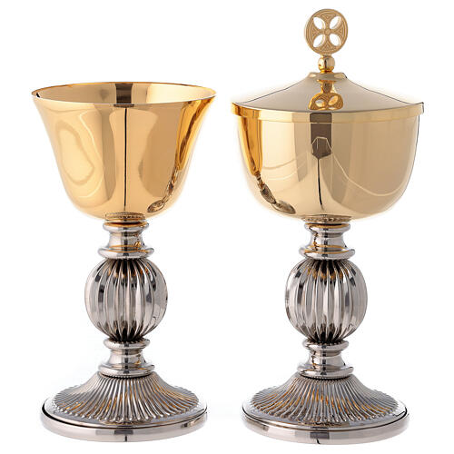 Chalice and ciborium with striped silver plated base 1