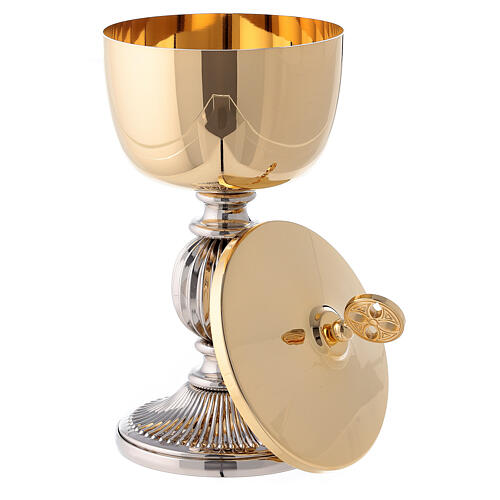 Chalice and ciborium with striped silver plated base 5
